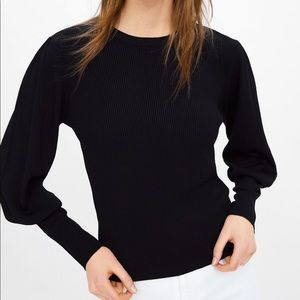 ZARA Black Glitter Puff Long Sleeves Sweater Top